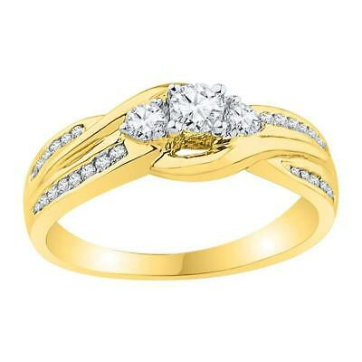 0.50 CTW3-stone Diamond Bridal Wedding Engagement Ring 10KT Yellow G... Lot 5732