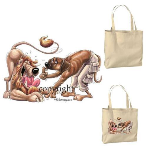 Rhodesian Ridgeback Dog Lion Friend #1 Cartoon Artist Canvas Grocery Tote Bag