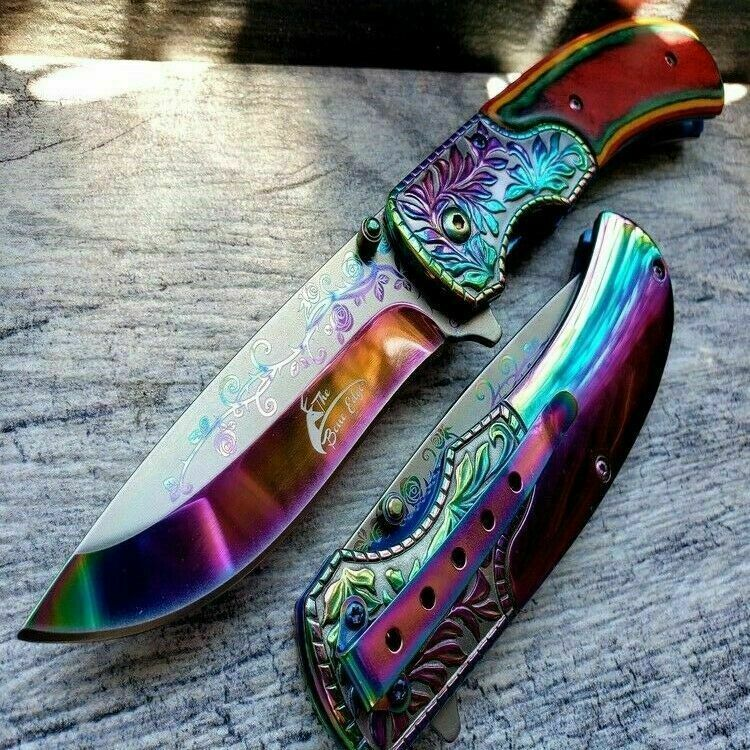"8.5"" Red WOOD HANDLE Spring Assisted Pocket Knife Rainbow Gold Blade 3cr13 Steel"