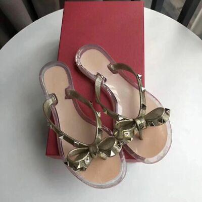 Womens PVC Flip Flops Flat Sandals Rockstud Bow Rivet Summer Beach Slippers Gold ()
