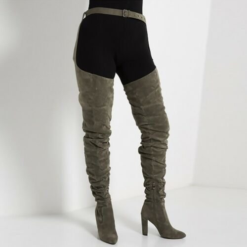 Women/'s Thigh-high Boots Block High Heels Pointed Toe Party Waist Buckle Shoes