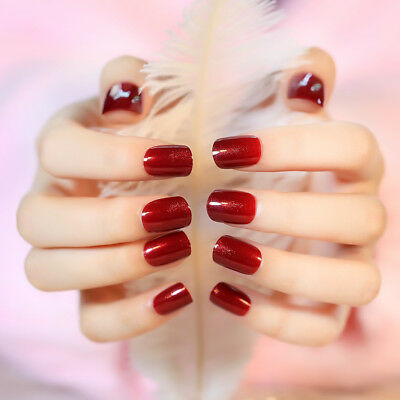 Christmas Glitter Red False Nails Short 24Pcs Artificial Nail Tips with Tools ()