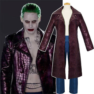 Suicide Squad The Joker Men Purple Faux Leather Coat Jared Leto Cospaly Costume](Costume The Joker)