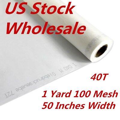 Us Stock 1 Yard 100 Mesh 50 Inches Width Silk Screen Printing Fabric 40t - White