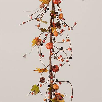 NEW PUMPKIN BERRY GARLAND Prim Fall Black Orange PINECONE Harvest Halloween