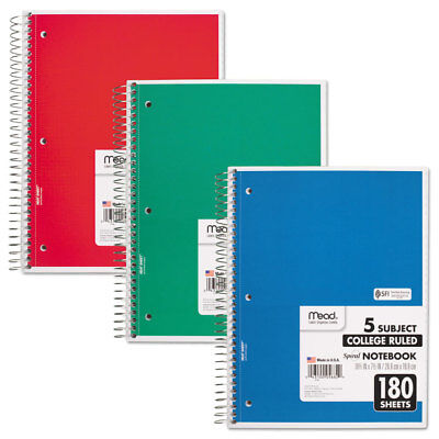 Mead Spiral Bound Notebook Perforated College Rule 10 12 X 8 White 180 Sheets