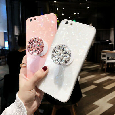 Plain Holder - Bling Diamond Airbag Stand Holder Phone Case Cover Fr iPhone XS Max XR XS 7 8+