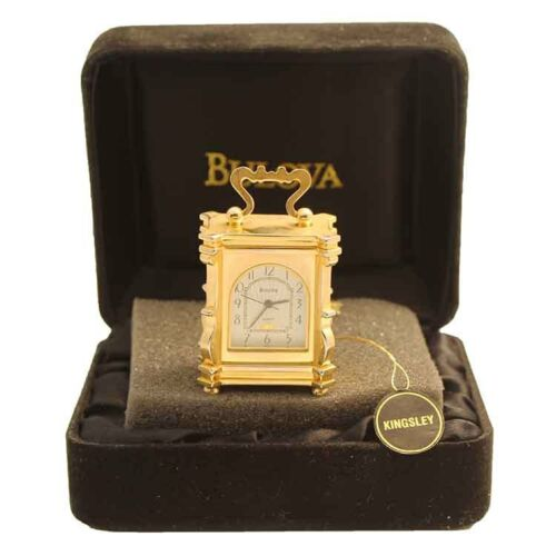 Bulova Miniature Kingsley Clock B0407 Brass Collectible