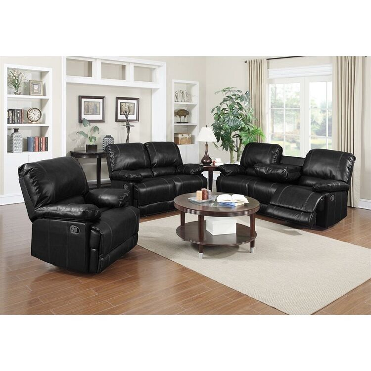 2pc Motion Sofa Set Sofa & Loveseat Black Bonded Leather Match Living Room Couch