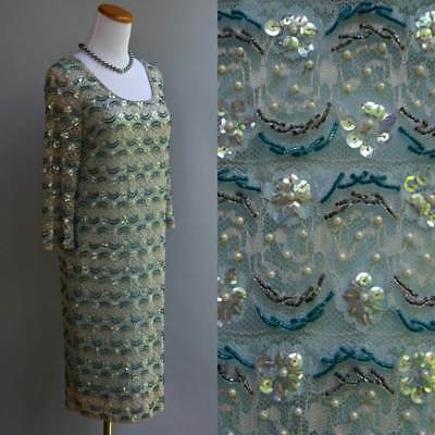 VTG 60s Opulent Blue Beaded Party Dress Iridescent Sequin Pearls Regalia -