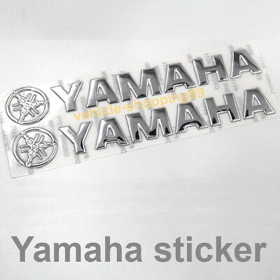 Yamaha Motorcycle Chrome (Yamaha Sticker Logo Motorcycle Chrome Silver Tank Decal Emblem 3D YZF Moto)
