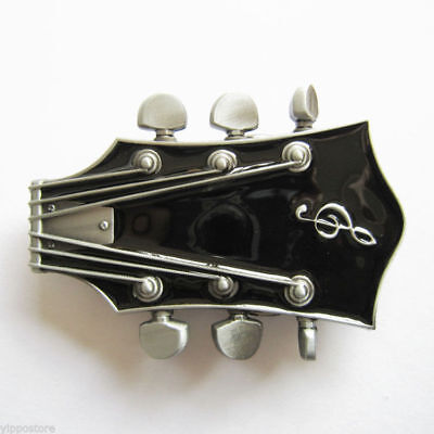 Original Black Guitar Head Metal Belt Buckle