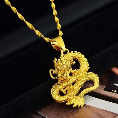 24K Yellow Gold Authentic Stylish Dragon Pendant With Link Chain Necklace D559m