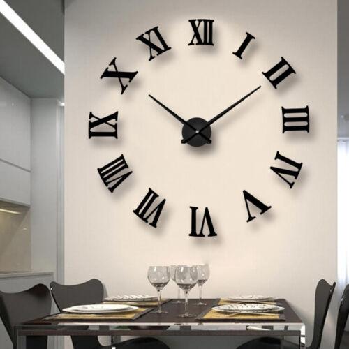 Home Decoration - 3D DIY Extra Large Roman Numerals Luxury Mirror Wall Sticker Clock Home Decor UK