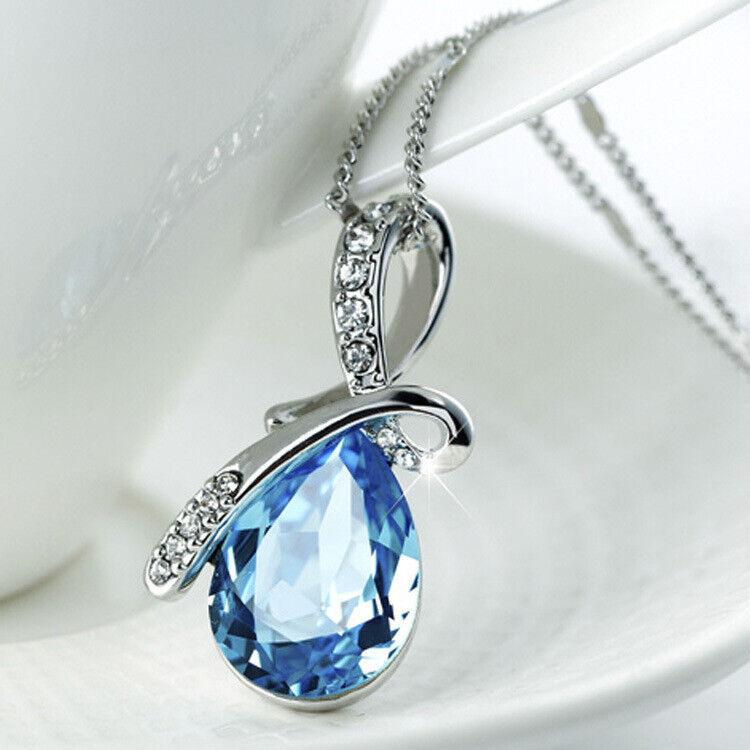 Jewellery - 925 Sterling Silver Crystal Angel Water Drop Pendant Necklace Womens Jewellery