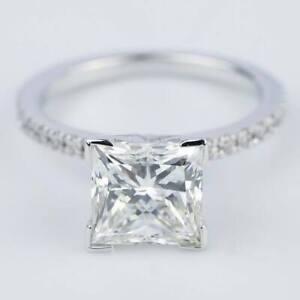 2.50 ct Princess Moissanite Engagement Ring  In 14k White Gold