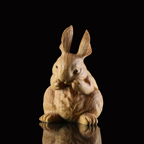 JP092 - 7*4.5*5 CM Carved Boxwood Carving Figurine - Lovely Rabbit