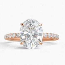 Bespoke 1.00 ct Oval Diamond Ring 18ct Rose Gold with Diamond Band