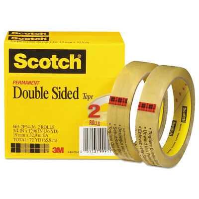 Scotch Double-sided Tape 34 X 1296 3 Core Transparent 2pack 6652p3436