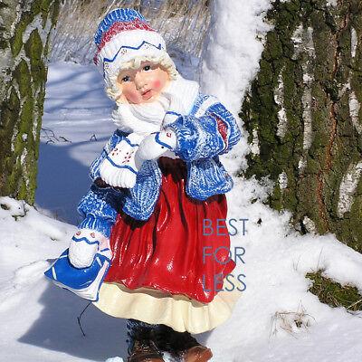 Mädchen Figur Winter Deko Statue Gartenfigur Berg Ski Schnee Thema Haustür Mütze ()