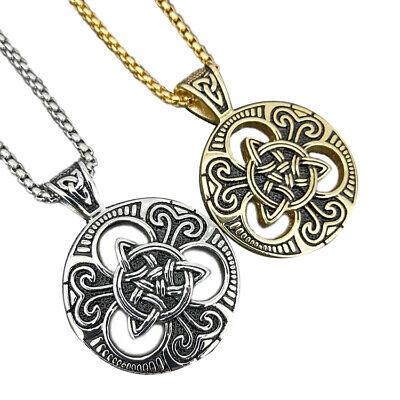 Stainless Steel Large Celtic knot Magic Triquetra Pendant Men Women Necklace Set