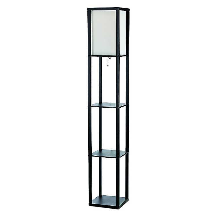 All the Rages Simple Designs Floor Lamp with Shelves - Black