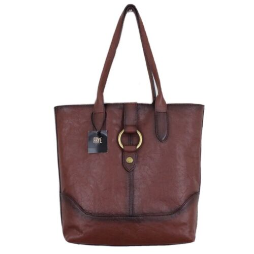 cognac brown leather ring large shoulder tote