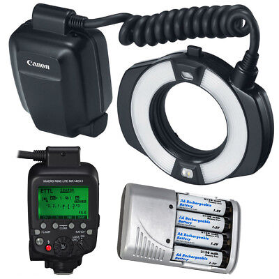 Canon MR-14EX II Macro Ring Lite + 4x AA Battery & Charger Bundle