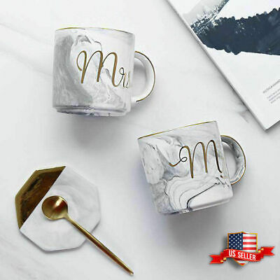 Marble Mr and Mrs Coffee Mugs Set of 2 Ceramic Cups Gift for Married Couples - Marble Coffee Mug