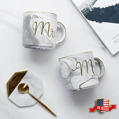 Marble Mr and Mrs Coffee Mugs Set of 2 Ceramic Cups Gift for