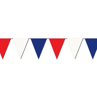 Red/White/Blue Poly Heavy Duty Pennant Strings Streamers 48flags/string 105 Fee (Red And White Streamers)
