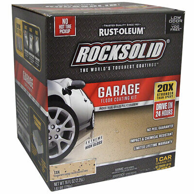 - RockSolid Polycuramine Garage Floor Coating Tan Kit 1 Car Garage Kit