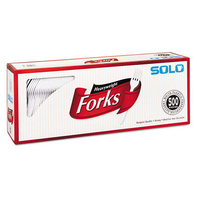 SOLO CUPS Heavyweight Plastic Cutlery Forks White 6.41 in 500/Carton 827263