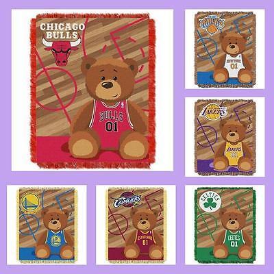 Baby Triple Woven Blanket (NBA Licensed Triple Woven Jacquard Afghan Throw Baby Blanket - Choose Your Team )