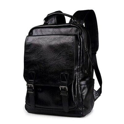 Men's Leather Shoulder Backpack Travel College Laptop Bag Daypack Bookbags