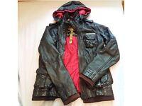Superdry genuine leather jacket women's size xs UK 8