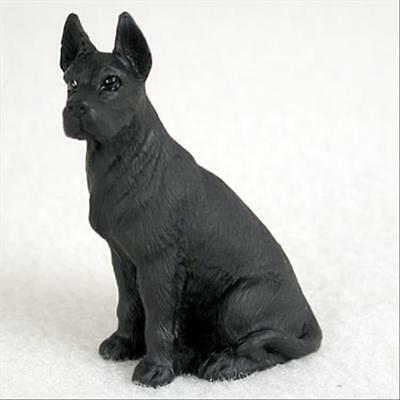 Black Great Dane Figurine - Great Dane Black Cropped Ears Dog Tiny One Miniature Small Hand Painted Figurine