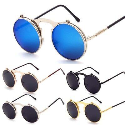 Vintage Retro Steampunk Flip Up Sonnenbrille Herren Damen Metall Runde UV Brille