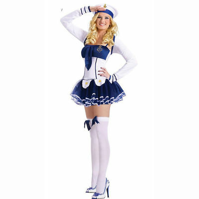 Sexy Navy Sailor Girl Uniform 3-Pieces Dress Costume For Cosplay/Halloween Siz L