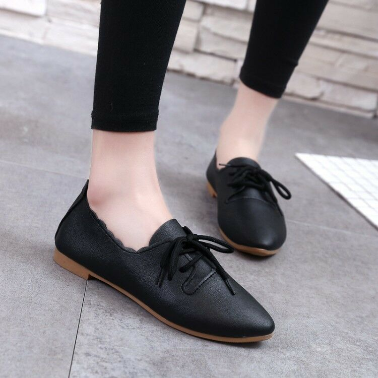 Mordenmiss Womens Trend Cozy Lace Up Work Shoes Casual Flat Sneakers