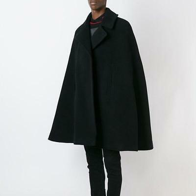 Wool Blend Show Coat (Men Wool Blend Lapel Cape Loose Sleeve Cloak Satge Show Winter Coats Outwears Q* )