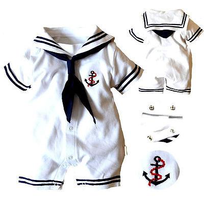 Newborn Baby Boys Girls Anchor Sailor Short Sleeve Romper Bodysuit Outfits 0-24M Boys Short Sleeve Romper