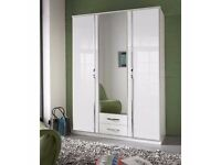 WHITE HIGH GLOSS WARDROBE /// 3 DOOR WARDROBE WITH MIRROR AND DRAWERS