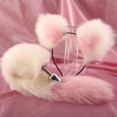 Fox Tail And Ears Anal-Butt Plug Romance Game Funny Toy CAT Cosplay Pink (Pink Cat Ears And Tail)