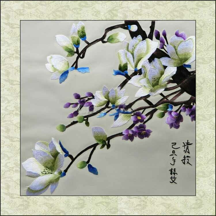 Exquisite Chinese SuZhou Embroidery Art Painting The Beautiful Rose