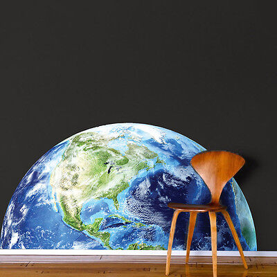 Half Earth Wall Decal Mural Planet Space World Wall Vinyl Mural Removable, (Half Wall Mural)