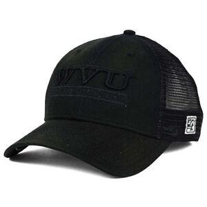 6c516079123 West Virginia Mountaineers NCAA Black Tonal 3 Bar Stretch Fit Mesh Hat Cap  WVU