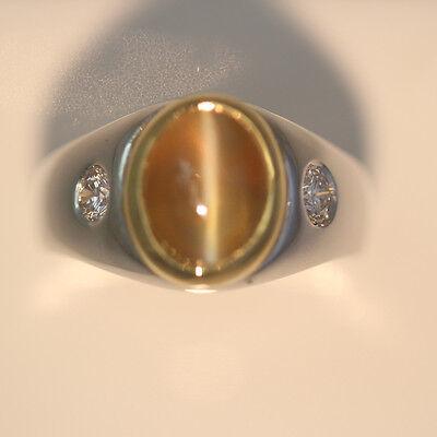 4.85 + Carat Mens Cats Eye & Diamond Ringl - Honey Color, Straight Eye  - GIA