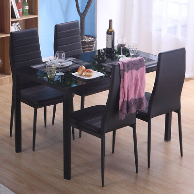 Dinning Table and 4 Chair Sets Rectangular Black Glass Gloss Kitchen Dining Room