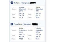 Flight London- Rome / Rome-London